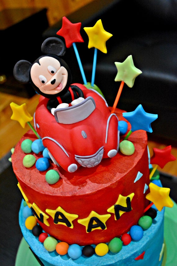 Groovy Mickey Mouse Birthday Cake Etsy Personalised Birthday Cards Bromeletsinfo