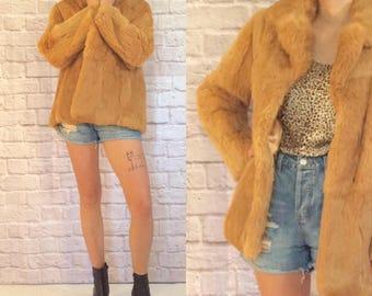 Vintage 1970's Rabbit Fur Coat Butterscotch Caramel Color Cozy Soft Winter Outerwear Size Medium Large