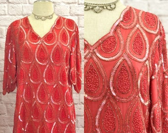 1980's Vintage Hand-Beaded Coral Silk Tunic Top With Scallop Edge