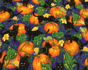 1998 Alexander Henry Bell Knobs /& Broomsticks Halloween Witch Hats Fabric BTHY