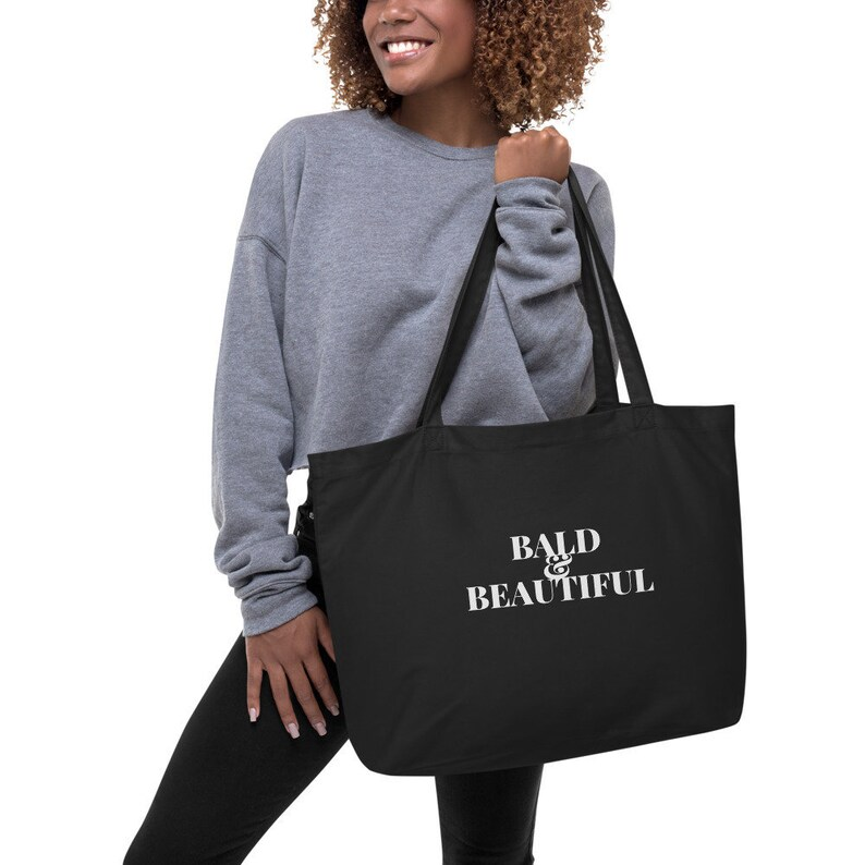 Chemo Care Package  Bald & Beautiful  Grocery Book Tote image 0
