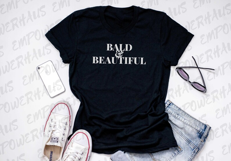 Breast Cancer Gift  Bald & Beautiful WOMEN'S TEE Chemo image 0