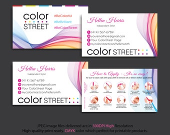 Color Street Business Cards, Color Street Application, How to apply color street, Color Street Cards, Personalized Cards CL32
