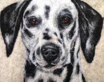 A paw-sitively lovely gift for a dalmatian lover!  Needle felted, wool portrait.