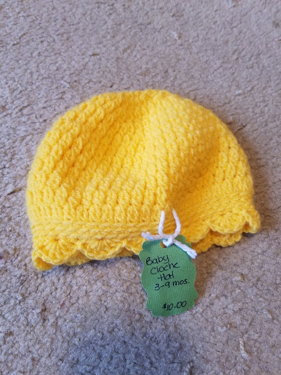 Yellow Baby Cloche Hat 3-9 months  75518ad79ef