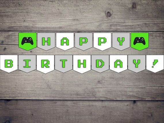Xbox Happy Birthday Printable Digital Banner Etsy