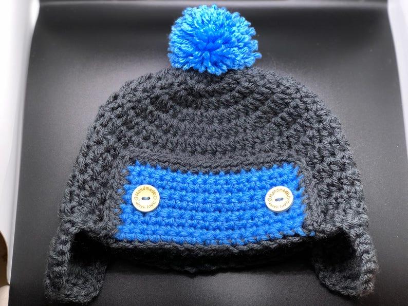 66f591196f924 Crochet Baby Aviator Hat Crochet Earflap hat Crochet Button