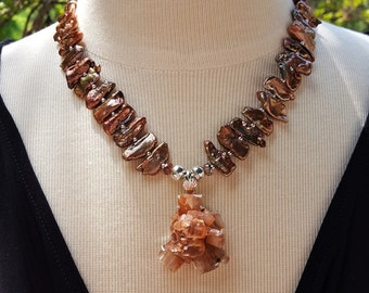 Aragonite Crystal Necklace in Sterling Silver, Copper Fresh Water Pearl Necklace, Statement Necklace, Crystal Necklace, Statement Jewelry