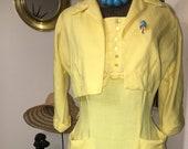 Vintage 1950s yellow linen wiggle dress with pockets matching bolero jacket