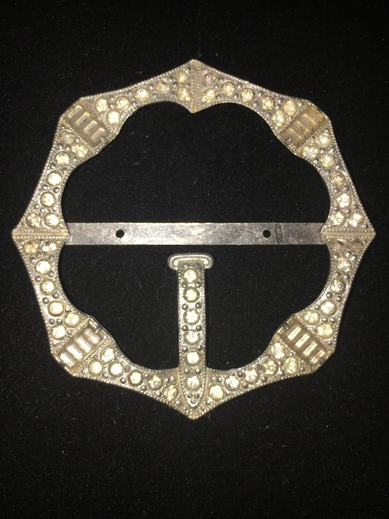 Vintage 1920-1930s rhinestone belt buckle for an Art Deco dress