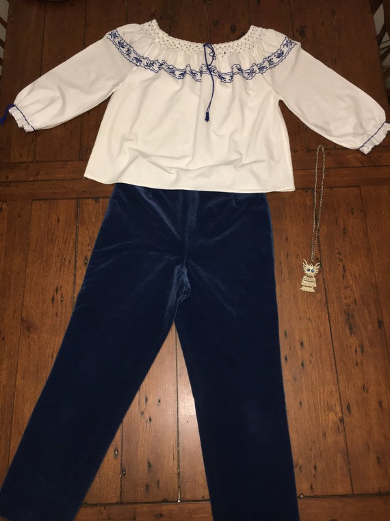 Vintage 1950-1960s royal blue velvet Capri pants