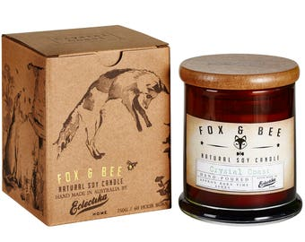 Crystal Coast Fox & Bee soy candle with gift box