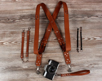 Double Camera Harness KIT, Double Shoulder Camera Strap, Dual Leather Camera Strap, Camera Strap, Leather Camera Harness Multicamera Strap