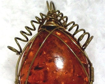 Faux Amber & Brass Pendant - Wire Wrap