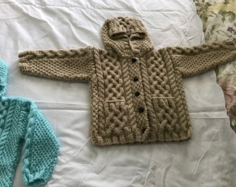 Knitted Hoodie  for baby's and toddlers