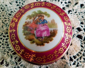 Vintage Meissner Limoges France circular trinket box with courting couple.Vintage French porcelain,vintage china trinket box,pill box red