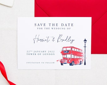 London Bus Save the Dates, London Themed Save the Dates, London Save the Date