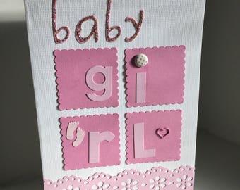 Handmade Welcome New Baby Girl Greeting Card