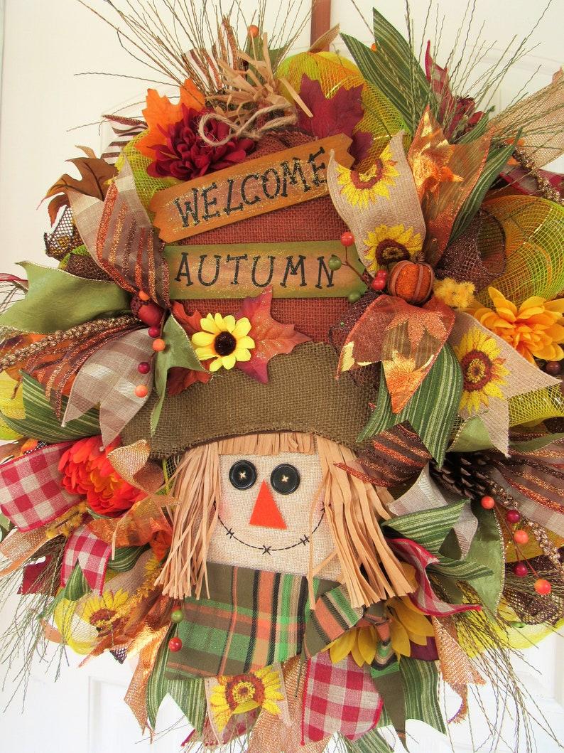 Scarecrow wreath Thanksgiving Autumn Wreath Fall Front Door Wreath Scarecrow Decor Fall Decor Fall Wreath Fall Deco Mesh Wreath