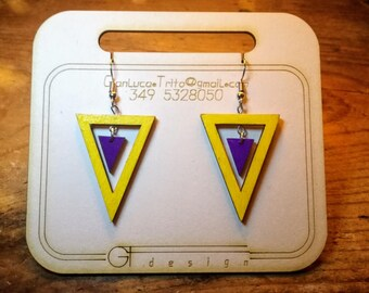 Wooden earrings, laser cutting, hand-painted acrylic colors