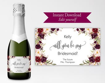 favor champagne label editable template thank you wine etsy