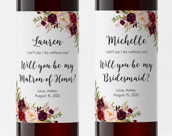 Printable Wine Label Etsy - Bridesmaid wine label template