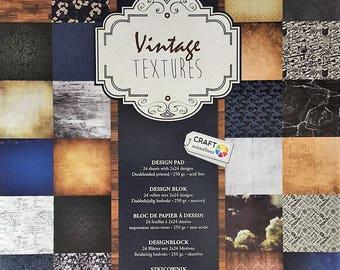 Paper scrapbooking Vintage Textures 30 X 30 24 patterns X 2 block