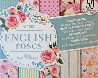 English roses paper Scrapbooking 50 sheets