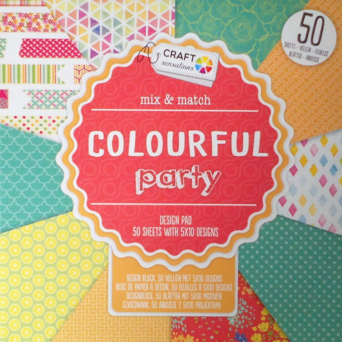 Block 50 scrapbooking sheets 15 X 15 Colorful Party | Etsy
