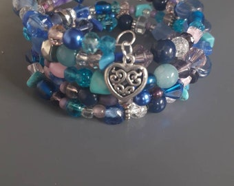 Blue, Pink and Purple wrap around memory bracelet.