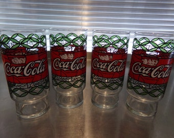 7c5711ec7986d1 Set of 4 vintage 16 oz. Coca Cola Drink Tumblers-Tiffany Style