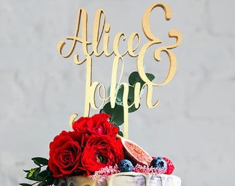 Personalized Name Wedding Cake Topper, Mr Mrs Topper, Mr And Mrs Alice and John, Cake Topper, Wedding Cake , Personalized Cake, Cake Toppers