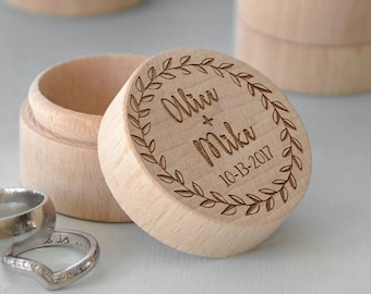 Vintage Proposal Jewelry Rustic  Wood Ring Box | Engagement Engraved Handmade Gift Ring Box | Custom Personalized Wedding Wooden Ring Box