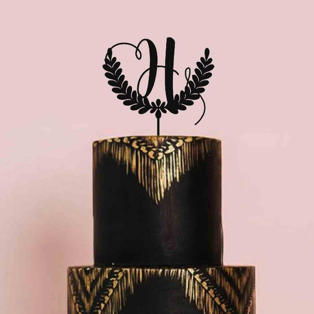 Decoration Wedding Black Glitter Cake Topper | Rustic
