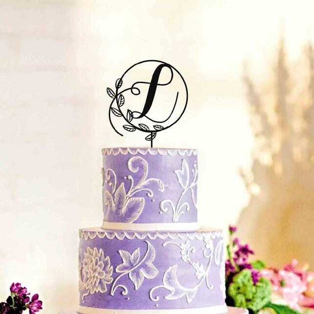 Wooden Black Wedding Decoration Cake Topper L Letter