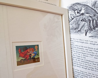 Alice framed stamp, Through the Looking Glass, Alice in Wonderland, Lewis Carroll, The Red Queen, Wonderland gift, postage stamp art