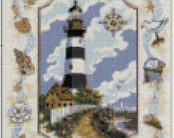 Sea Side Light House Counted Cross Stitch Pattern PDF Download
