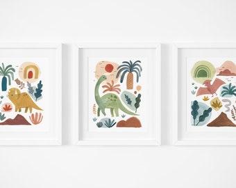 Dinosaur Series - Set of Three Art Prints, Nursery Decor, Kids Room