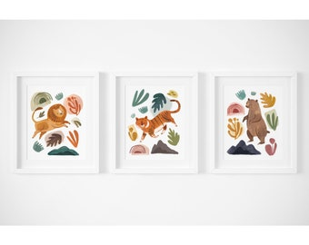 Lions Tigers And Bears Print Set   Nursery Decor, Kids Room Art, Nursery  Prints, Animal Nursery Decor
