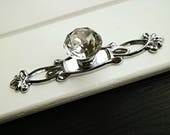 Silver chrome dresser knob clear crystal glass drawer handle wardrobe pull kitchen cabinet door handle decorative knob pull back plate