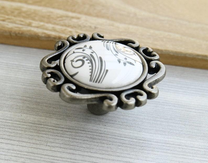 Porcelain dresser handle white gray drawer knob pull cabinet door handle decorative handle ceramic furniture pull knob antique black silver