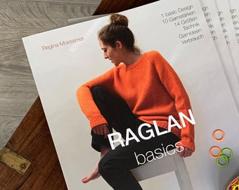 RAGLAN basics, 1 Grundanleitung  für 10 Garnstärken und 14 Größen. Es ist also das universelle Basis-Buch für Top Down gestrickte Pullover.
