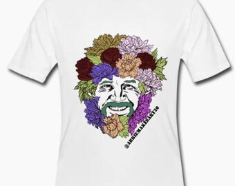 Flowered Bob Ross men's graphic tee