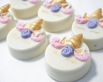 Unicorn Pink Purple w/ gold accents Chocolate Covered Oreos