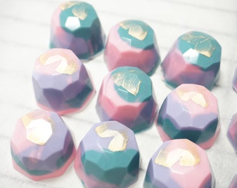 Unicorn Pink Purple Teal gold / silver Chocolote Gems (Cookies and Cream)