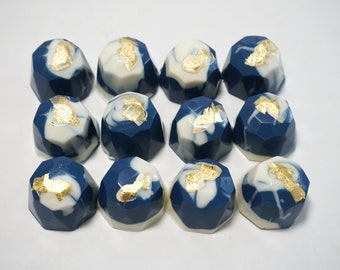 Dark Indigo Blue White gold / silver Chocolote Gems (Cookies and Cream)