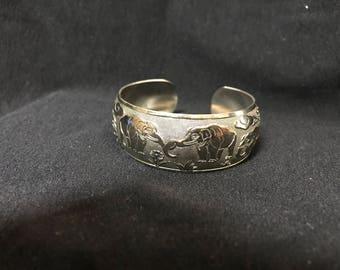 925 Sterling Silver Vintage Elephant Bracelet Cuff