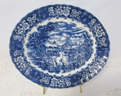 Vintage British Anchor Memory Lane Blue Ironstone 13 quot Oval Platter, Staffordshire England Transferware, Floral English Countryside Scene