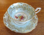Vintage Paragon Double Warrant Mint Green Tea Cup and Saucer