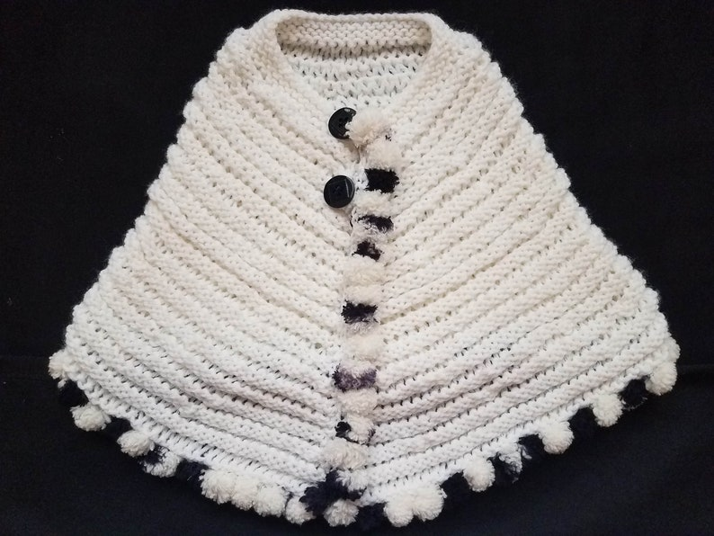 Hand Knit Toddler Girls 2T Black and White Poncho with Button